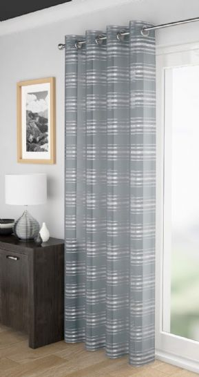 SILVER METALLIC GLIMMER SILVER STRIPED EYELET LUXURY VOILE PANEL CURTAIN